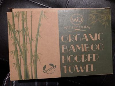 Brand new Winzur organic bamboo hooded towel for babies
