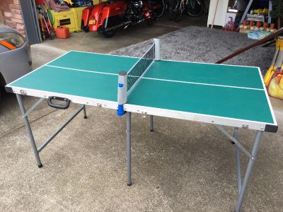 Portable foldable ping pong table, includes portable collapsible net, total $50