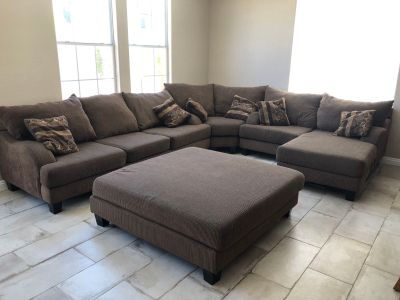 Large sectional with extra large ottoman
