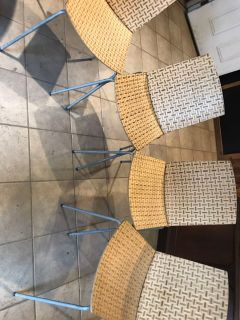 Set of 4 bamboo IKEA chairs (aluminum legs)