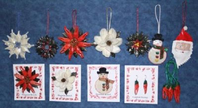 Ornaments made w/ Crawfish,Crabs,Garfish,Redfish Scales