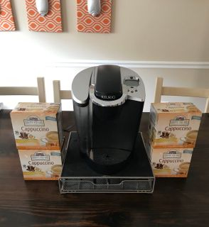 Keurig Coffee Maker with 4 boxes of Cappuccino K-cups