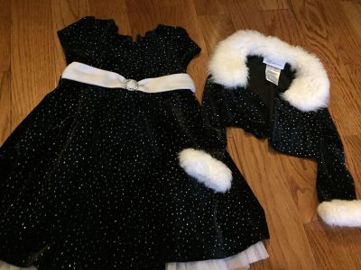Girls holiday sparkle velour dress with cover up size 3T