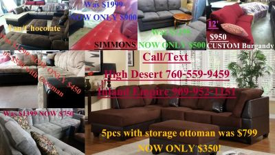 NEW chocolate sectional $400 was $799 must sell can deliver 7605084797