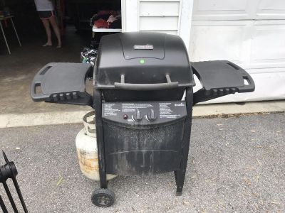 Gas grill with propane half full
