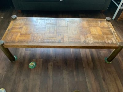 Solid Wood & Brass leg Coffee Table