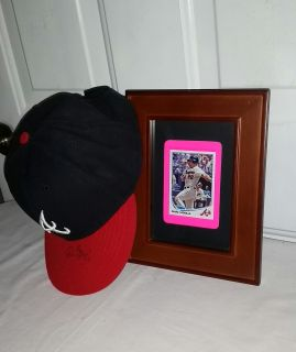 Dan Uggla autographed cap and 2012 Topps card in super nice frame. Atlanta Braves. Both.for $30