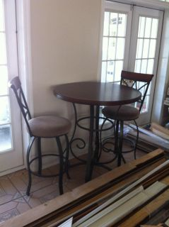 Two top bar height table and chairs