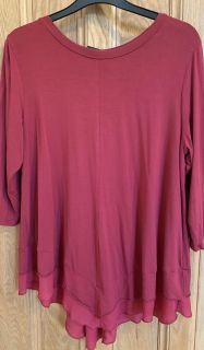 Burgundy swing top with ruffle size L