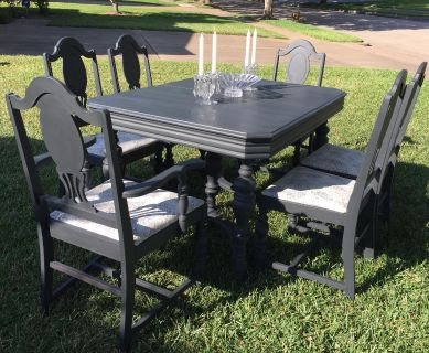 ELEGANCE...meets..FRENCH COUNTRY FARMHOUSE..Antique Dining Set from the 1940 s with a facelift.. CUSTOM FINISHED...