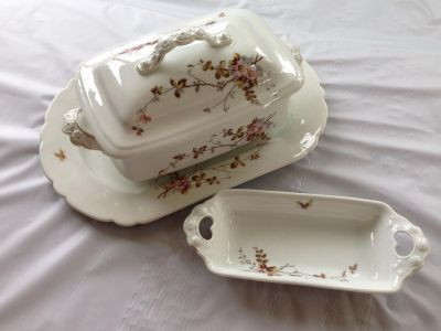 Antique Covered Casserole, Platter and smaller Dish