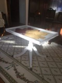 Duncan Phyfe style glass top tray table