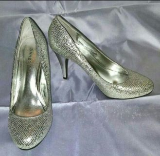 Bamboo Silver Sequin Sparkle Heeled Pumps