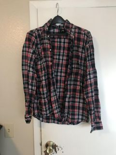 H&M Red, blue, and white button up flannel