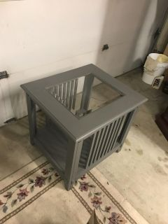 Glass top gray side accent table