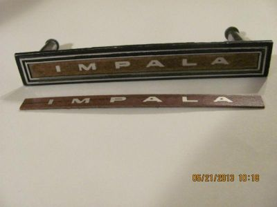 "Sell 1966 Chevy Impala->RARE ""NOS"" GM Woodgrain Insert w/""IMPALA"" for Dash Emblem motorcycle in Kansas City, Missouri, US, for US $19.95"