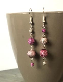 Mixed Pink Sparkle Earrings