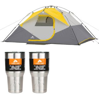 4 person Ozark Trail 9'x7' Instant Dome Tent (+ bonus 2 Ozark Trail 30oz Tumblers)