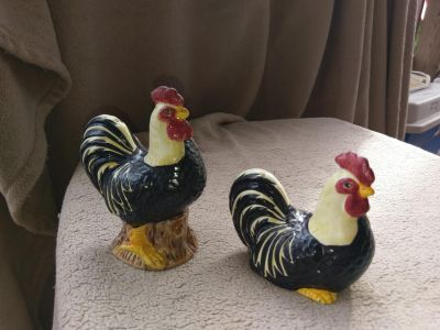 Rooster and Chicken Figurines
