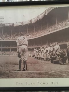 Framed Black and White Babe Ruth picture