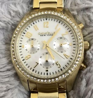 Caravelle New York by Bulova Gold Link Watch with Stones