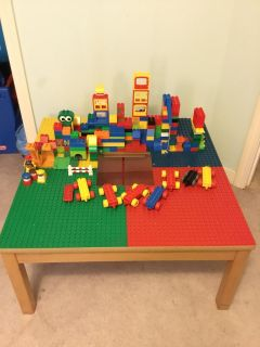 LEGO Duplo table and over 130 building blocks/people and more!!! *crossposted*