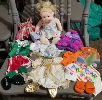 Excellent Condition, TY Beanie Kids Doll and 6 complete outfits