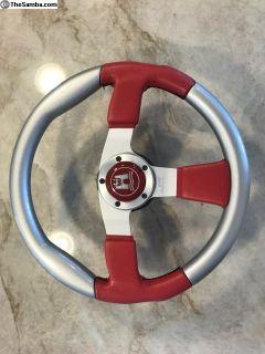 Grant VW sterling wheel with Wolfsburg center cap