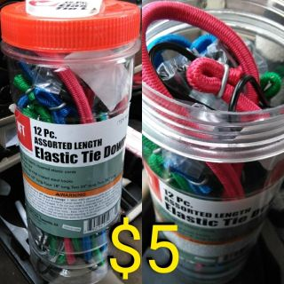 12 pc New Tube of Elastic Tie Downs Bungee Cords