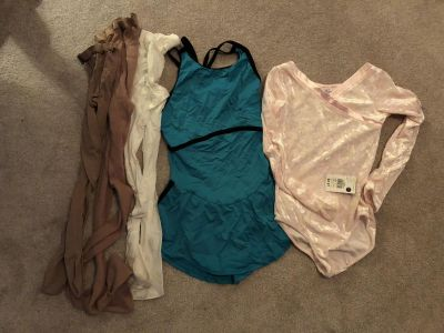 Girls size 10-12 ice skating outfits plus 3 pairs of ice skating tights