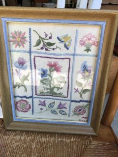 Very beautiful vintage needlework piece 10 by 12 . Cross posted.