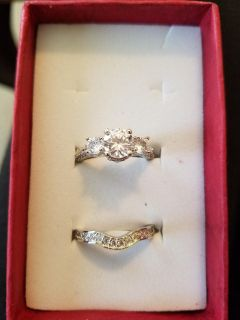 Round White Sterling Silver Bridal Ring Set Jewelry Gift