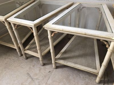 Faux Bamboo End Tables Set 4 pieces Original Condition