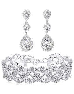 Silver Plated White Rhinestone Crystal Choker with Drop Earrings Set