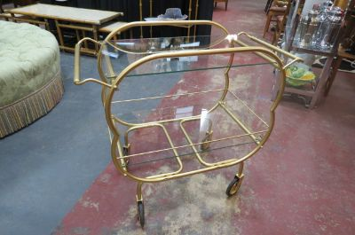 Vintage MCM gold metal and glass 2 tier bar cart