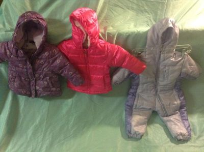 Girls winter suit and Jackets and Baby (rear facing) Car Seat