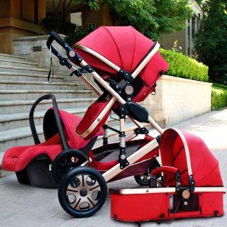 $39.99  Luxury Baby Stroller High View Pram Foldable Pushchair Bassinet&Car Seat