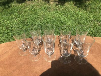 Set 9 Vintage Cordial Liqueur Glasses Graceful Styling and Elegance Any Occasion