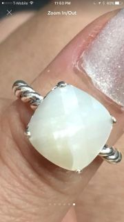 Silver 925 mother of pearl pandora ring size 56