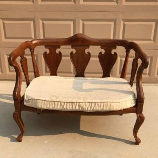 Vintage Solid Wood Loveseat / Bench