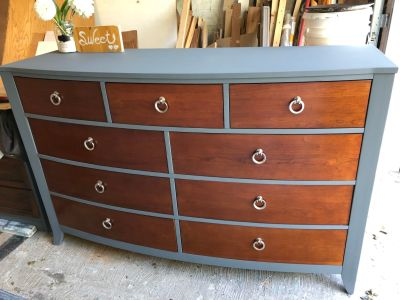 "GORGEOUS RUSTIC Dresser/TV Console/Buffet-62.5""x40""x20""-refinished in dark grey-185$"