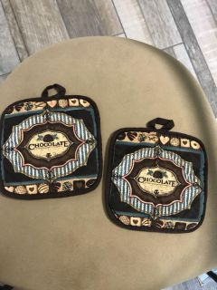 Potholders with chocolate design. Set of two