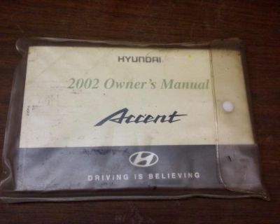 Sell HYUNDAI ACCENT Owners Manual 2002 motorcycle in Racine, Wisconsin, United States, for US $25.00