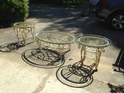 Cast Iron Coffee Table and 2 End Tables