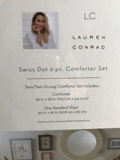 TWIN X-LONG Lauren Conrad Swiss Dot 2 pc Comforter Set
