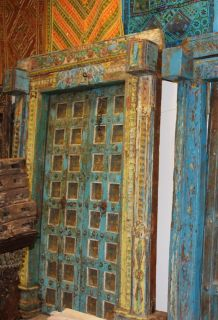 Antique OM Blue Teak Haveli Doors Iron Nails FLORAL CARVED FRAME CLEARANCE SALE