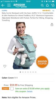 Baby carrier with hip support