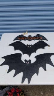 """Bats (lot of 3) made of wood, ready to hang. 27"""" 22"""" 20"""""""