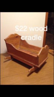 Wood doll cradle bed