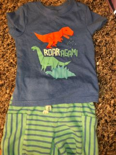 Cat and Jack outfit 18 month top, 2T shorts
